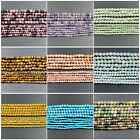 Faceted Natural Gemstone Round Spacer Loose Beads 15.5'' 2mm 3mm 4mm Jewelry DIY