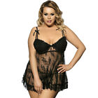 Plus Size M-5XL Sexy Lingerie Lace Dress Chemise Nightie G String Black Babydoll