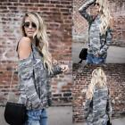 New Fashion Women Casual O-Neck Long Sleeve Cold the Shoulder Camouflage DZ88 01