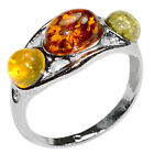 2.4g Authentic Baltic Amber 925 Sterling Silver Ring Jewelry N-A7496