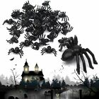 50/100pcs New Plastic Black Spider Trick Toy Party Halloween Haunted House Decor