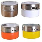 Stainless Steel Magnetic Spice Storage Tins With Rack Holder 4Colors