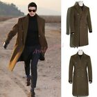 Wool Blend Long Coat Lapel Trench Winter Mens Double-breasted Business Outwear