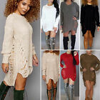 Womens Oversize Long Sleeve Sweater Baggy Sweatshirt Jumper Mni Dress Long Tops