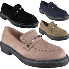 New Womens Ladies Slip On Low Heel Studded Deck Shoes Comfy Loafers Flats Size