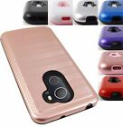 FOR ALCATEL TMOBILE REVVL METALLIC BRUSHED CARBON FIBER HYBRID CASE COVER+STYLUS