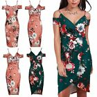 Womens Floral Cold Shoulder Strappy Wrap Over V Neck Ladies Bodycon Mini Dress