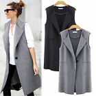 New Women Casual Sleeveless Long Duster Waistcoat Jacket Blazer Cardigan Outwear