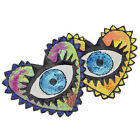 Large Sequin Heart Evil Eyes Embroidered Sew on Patches Badge Applique DIY Craft