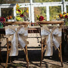 "10/100pcs Hessian Burlap Chair Sashes Tie Bow Linen Rustic Chair DIY 108"" x 5.9"""