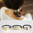 Fashion Golden feather oval rectangle Hair Band Rope Scrunchie Ponytail Holder