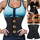 AU Latex Zip Waist Trainer Body Shaper Corset Tummy Cincher Training Shapewear