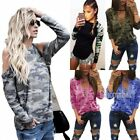 Women Long Sleeve Casual Blouse Tops Ladies Loose Tee Shirt Camo Casual T Shirts