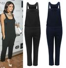 UK Ladies Vintage Dungaree Jumpsuit Pinafore Womens Overall Full Length Pockets