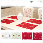 2pcs Xmas Embroidered Dinner Mat Christmas Party Table Placemat Decoration Decor