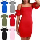 Womens Ladies Square Neck Strappy Ruffle Sleeve Cold Shoulder Bodycon Mini Dress