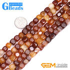 "Natural Red Carnelian Agate Gemstone Cubic Beads For Jewelry Making 15"" 8mm 14mm"