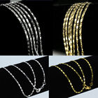 Wholesale 925 Gold Silver Figaro Curb Link Flat Chain Necklace Jewelry 16''-30''