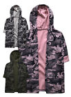 Girls New Hooded Camo Cardigan Kids 3/4 Sleeve Jacket Top Pink Grey  3 -12 Years
