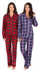 Ladies Tartan Pyjamas New Womens Classic Winter Fleece PJ Set Sizes UK 8 - 22
