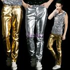 Hot Mens Shiny Trousers Gold Silver Long Singer Dance NightClub Party Show Pants