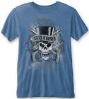 GUNS N ROSES Faded Skull Blue BURNOUT T-SHIRT OFFICIAL MERCHANDISE