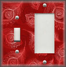Metal Light Switch Plate Cover Wallplate - Peacock Pattern Home Decor Red