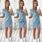 New Fashion Women Casual Turn-down Collar Short Sleeve Solid Pocket TXST