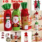 Xmas Red Wine Bottle Cover Bags Snowman/Santa Claus Christmas Decoration Sequins