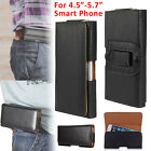 """Leather Horizontal Belt Clip Case Pouch Cover Holster for 4.5""""-5.7"""" Cell Phone"""