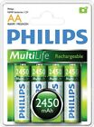 4 x Philips MultiLife NiMH Rechargeable AA Batteries R6NM 1.2V 2450mAh | PH014
