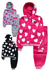 Girls Heart Print Tracksuit New Kids Hoodie Joggers Outfit Set Age 2 - 10 Years