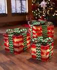 Lighted Gift Box Decor Sets of 3 Christmas Dramatic Display Natural Red & Green