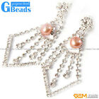 8-9mm Freshwater Pearl Gold Plated Dangle Stud Earring Fashion Jewelry XMAS Gift