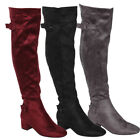 Beston EJ47 Women's Side Zipper Buckle Strap Block Heel Over The Knee High Boots