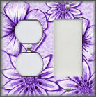 Metal Light Switch Plate Cover - Big Flowers Leaves Floral Decor Purple 01