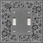 Metal Light Switch Plate Cover - Floral Framed Wood Design Grey Black Wallplate