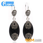 Fashion 14x32mm Marquise Beads Tibetan Silver Dangle Earrings for Chritmas Gift