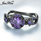 amethyst jewelry - Exquisite Round Purple Amethyst Flower Wedding Ring Black Gold Jewelry Size 6-10