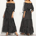 ZANZEA Women Summer Plus Size Polka Dot Boho Party Cold Shoulder Long Maxi Dress