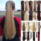 100% Real Thick Clip In As Human Remy Hair Extensions Pony Tail Wrap Ponytail TH