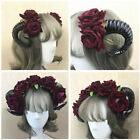 Halloween Joke Gothic Devil Sheep Horn Flower Headband Cosplay Headdress Gift