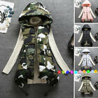 Women's Winter Long Camouflage Vest Warm Hooded Jacket Waistcoat Cotton Coat