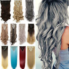NEW Remy Style Full Head Clip in 8Pcs 18 clips in Hair Extensions As Human XY92