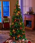 6 ft Pre-Lit Pop-Up Christmas Trees Plastic Metal Clear &...