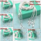 """WHOLESALE 5PCS 1MM SILVER TONE JEWELRY SNAKE CHAIN 16""""-24""""NECKLACE CHAIN"""