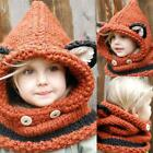 Kids Warm Fox Animal Hats Knitted Coif Hood Scarf Beanies for Autumn TXCL
