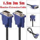 15Pin Male to Male VGA Extension Cable Cord HD Monitor For Laptop PC 1.5M 3M 5M