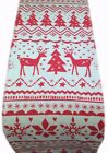 NORDIC TABLE RUNNER  CHRISTMAS STAGS REINDEER white +  red scandi xmas- runners