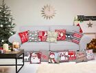 Christmas Festive Chenille Scatter Cushion Covers Xmas Red Green Santa Snowman